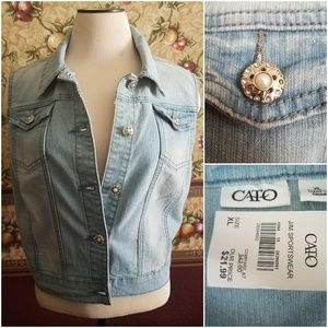NWT Cato Denim Vest Silver & Pearl Fancy Buttons